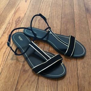 ZARA gorgeous black and gold sandals 38